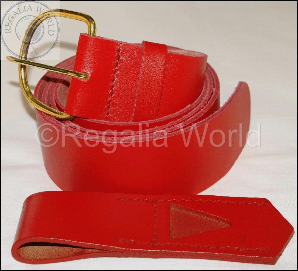 Red leather belt and frog