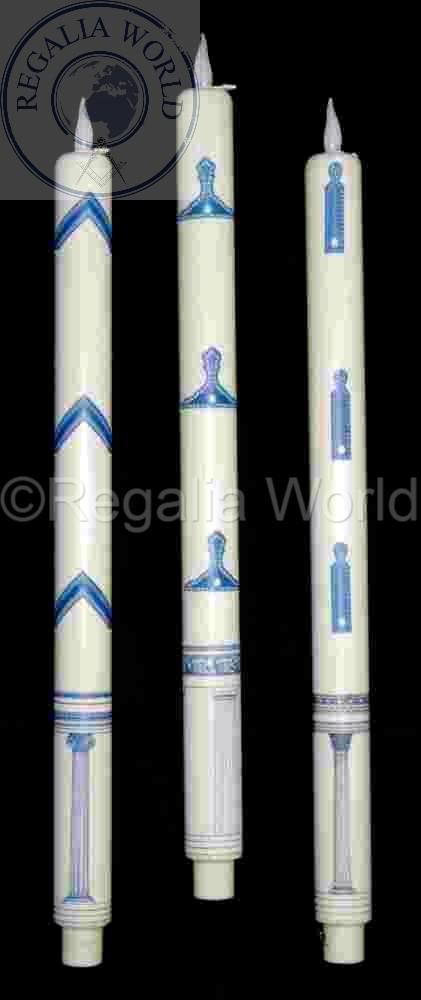 SW ivory colour battery L.E.D. candle with symbols