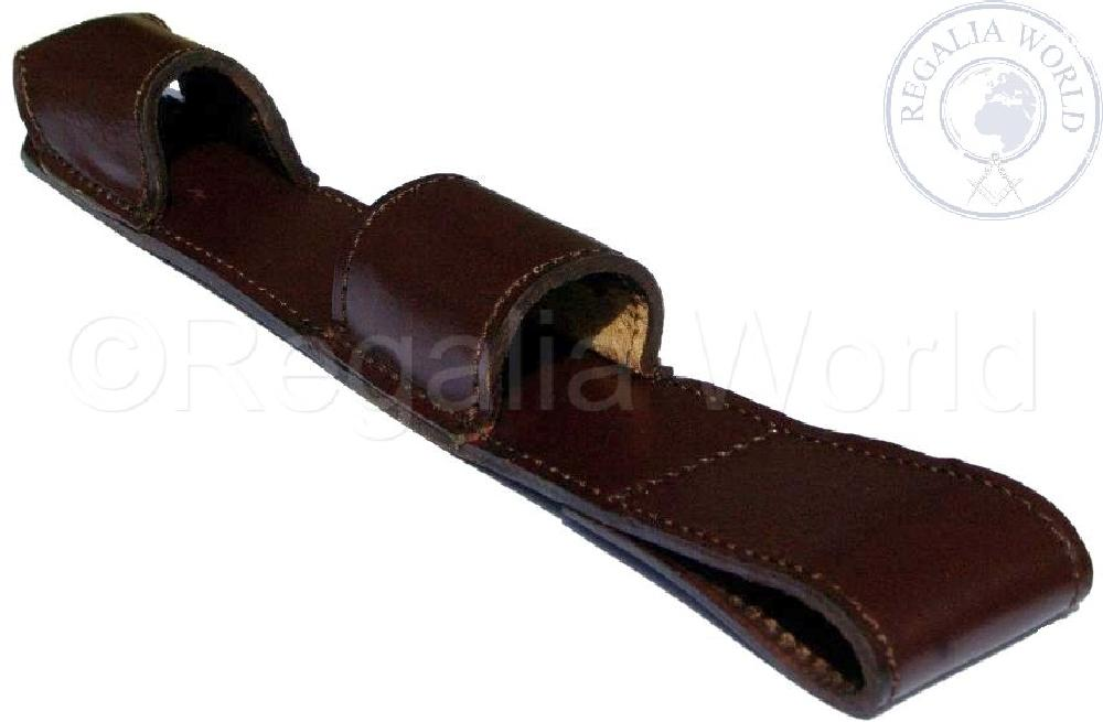 Baton holder Frog in dark brown leather
