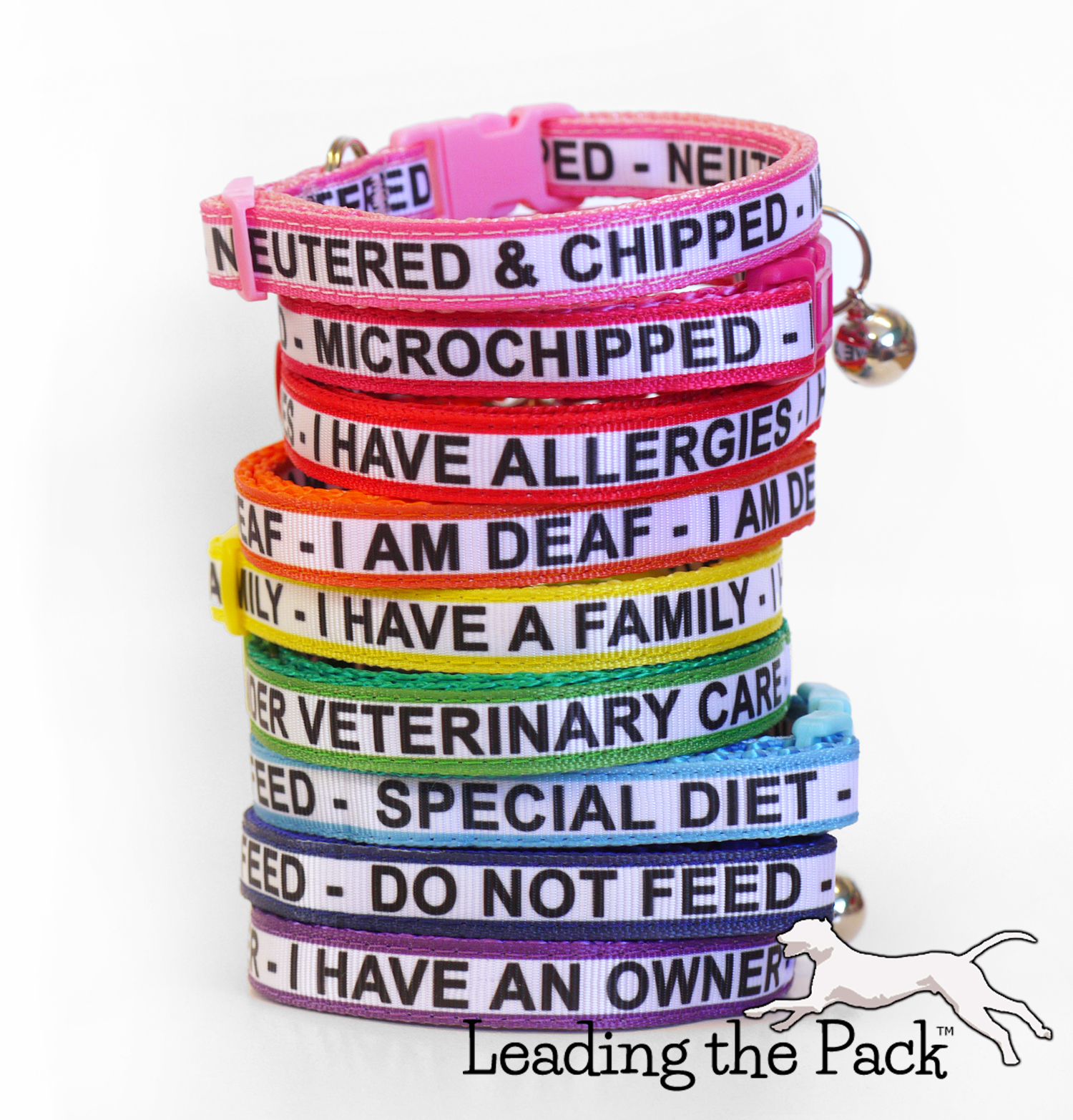 10mm custom text stripe collars