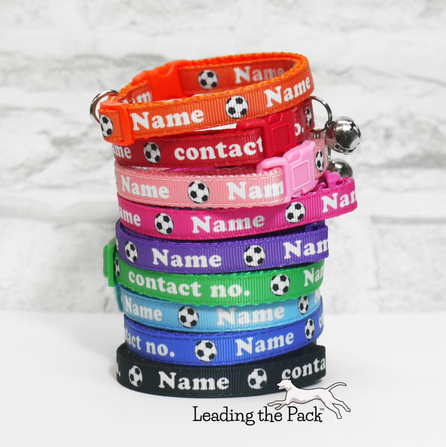 10mm personalised name contact football soccer collars & leads