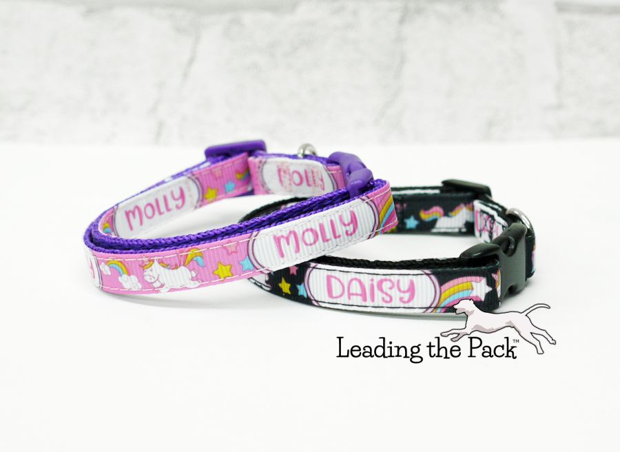 10mm personalised name unicorn collars & leads