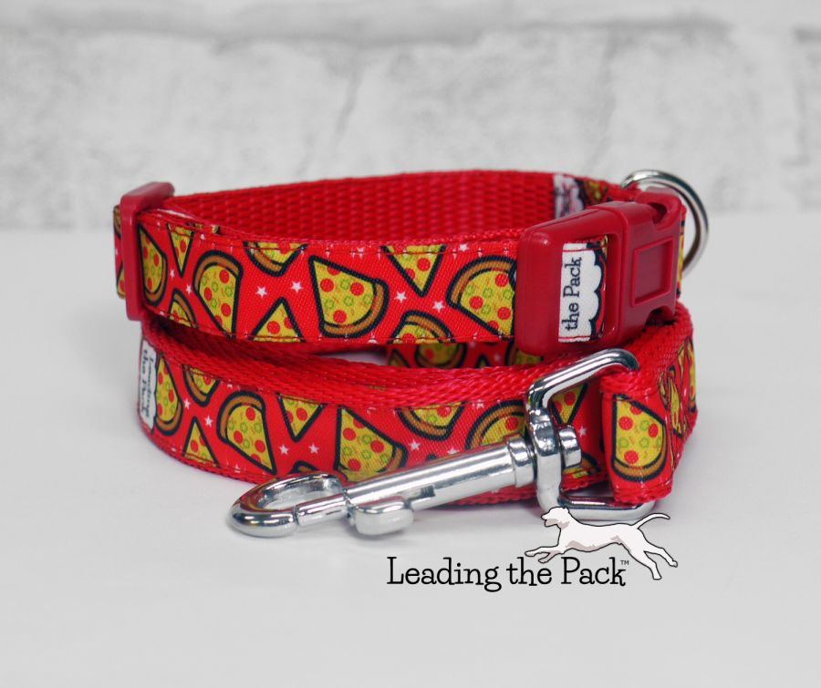 15mm red pizza collars & leads