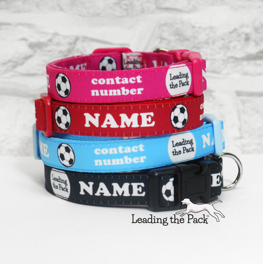 15mm personalised football soccer name contact collars & leads