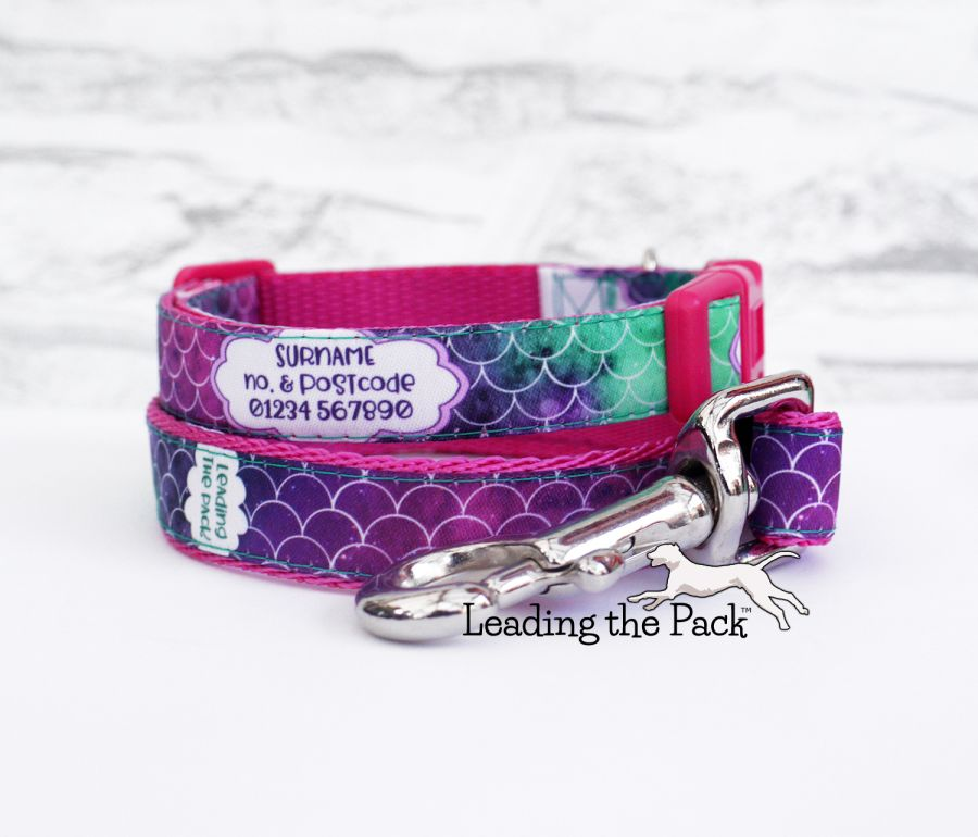 15mm personalised contact mermaid scales collars & leads
