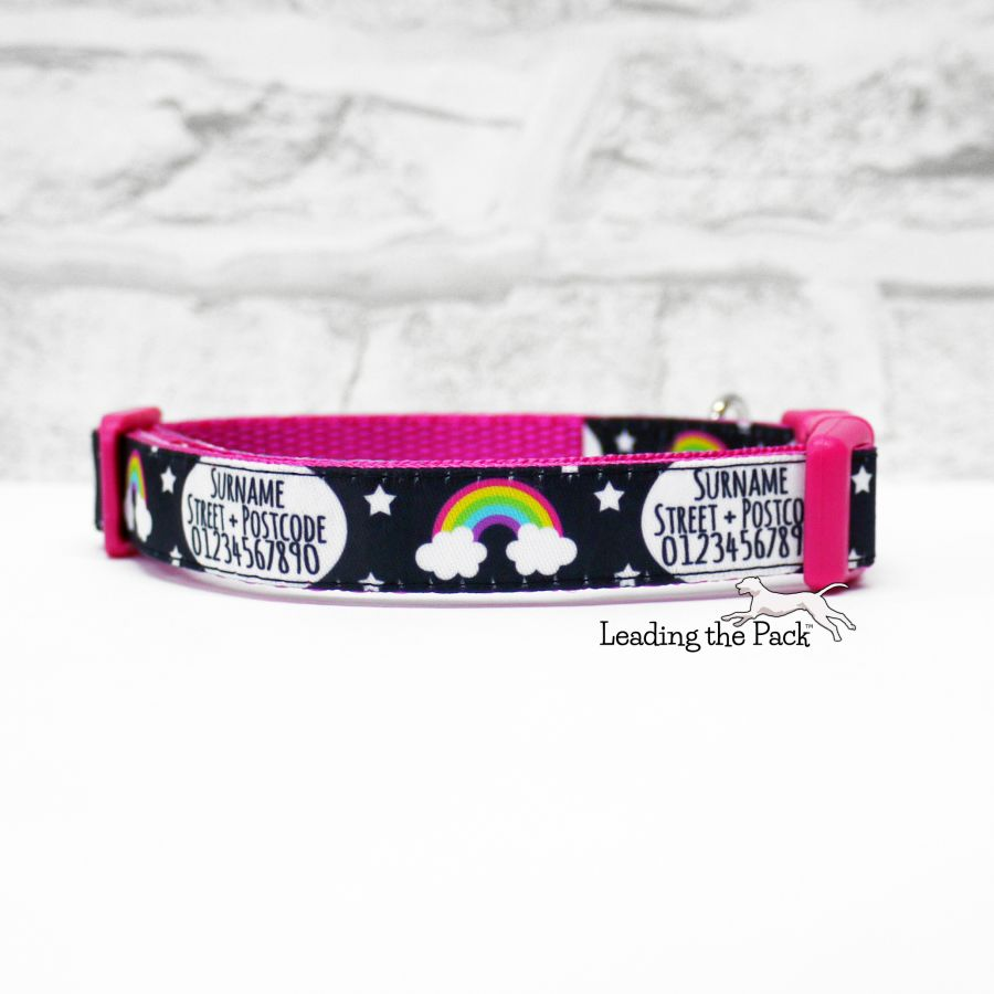 15mm personalised contact rainbows black collars & leads