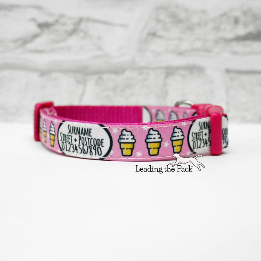 15mm personalised contact pink ice creams collars & leads