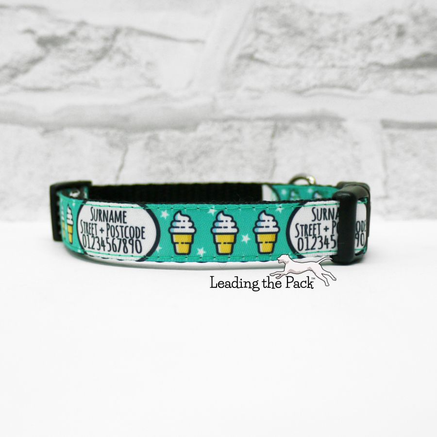 15mm personalised contact turquoise ice creams collars & leads