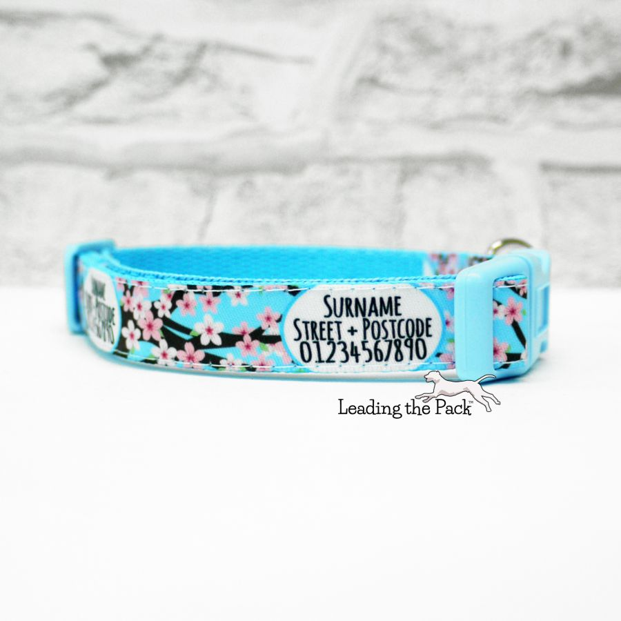 15mm personalised contact cherry blossom collars & leads