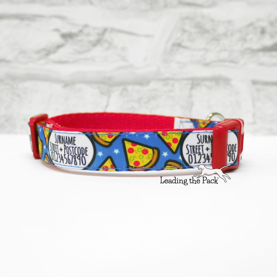15mm personalised contact pizza collars & leads