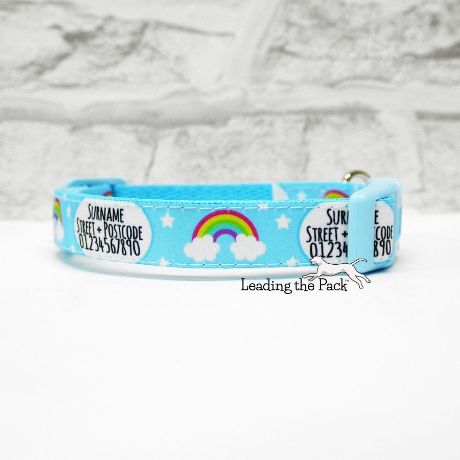 15mm personalised contact rainbows blue collars & leads