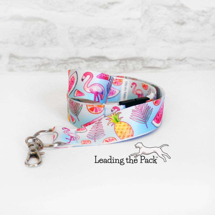 Tropical flamingo lanyard
