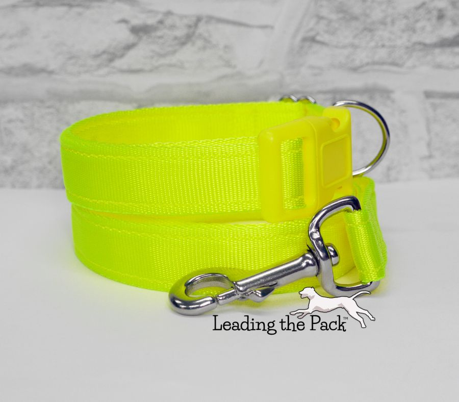 20/25mm hi-vis yellow webbing collars & leads