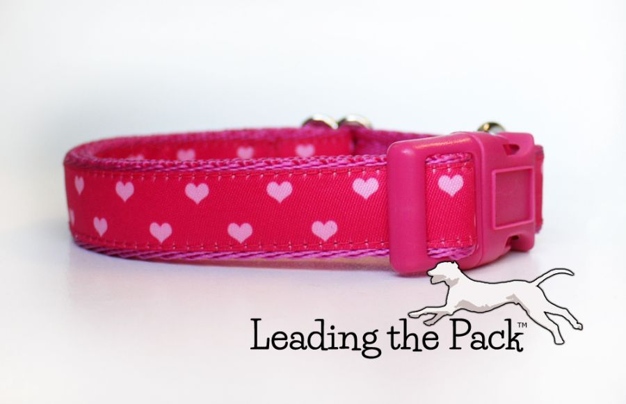 20/25mm pale pink hearts collars & leads