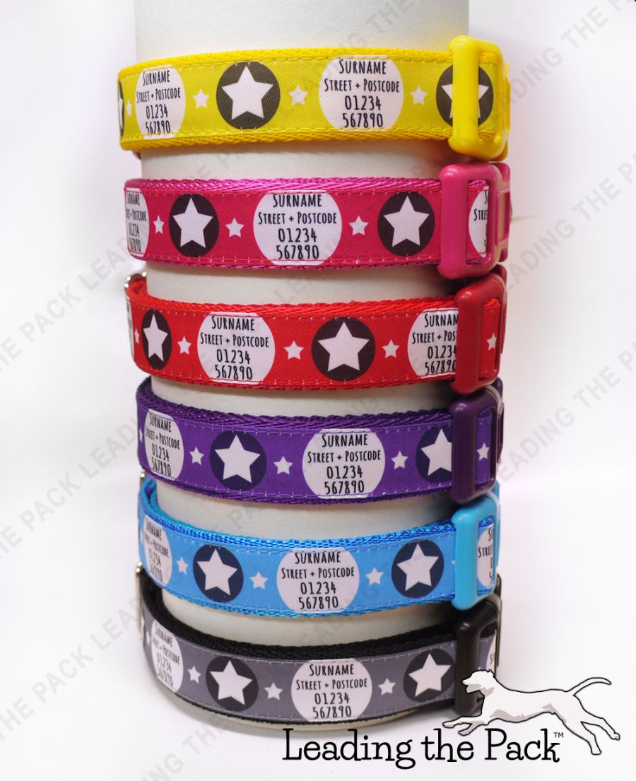 20/25mm personalised contact stars collars & leads