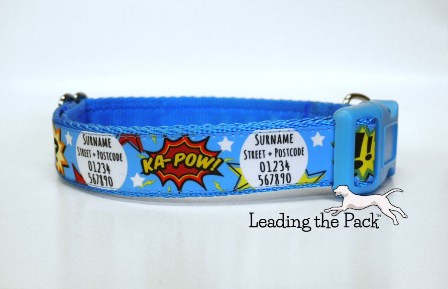 20/25mm personalised contact superhero collars & leads