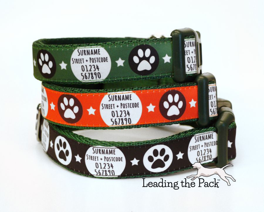 20/25mm personalised contact paws collars & leads