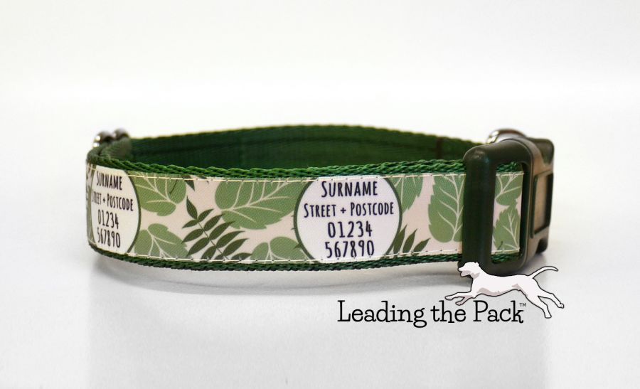 20/25mm personalised contact fern leaves collars & leads