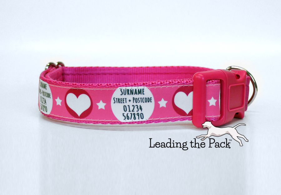20/25mm personalised contact hearts collars & leads