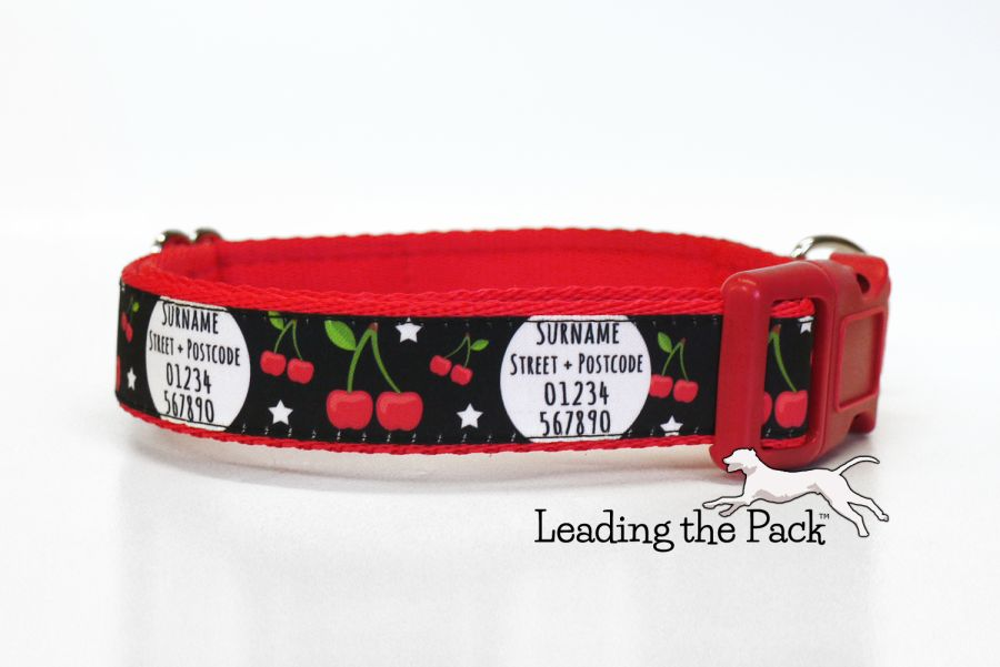 20/25mm personalised contact cherries collars & leads