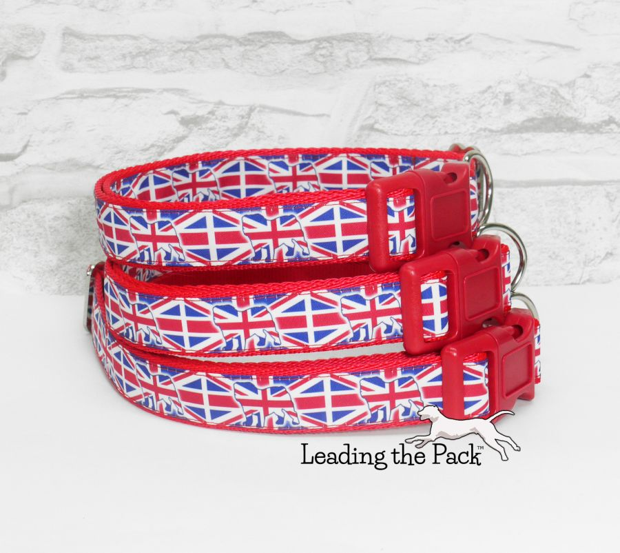 20/25mm Union flag bulldog collars & leads