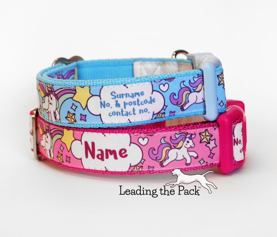 20/25mm personalised name contact unicorn collars & leads