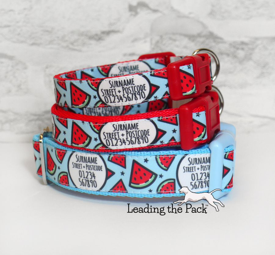 20/25mm personalised contact watermelon collars & leads