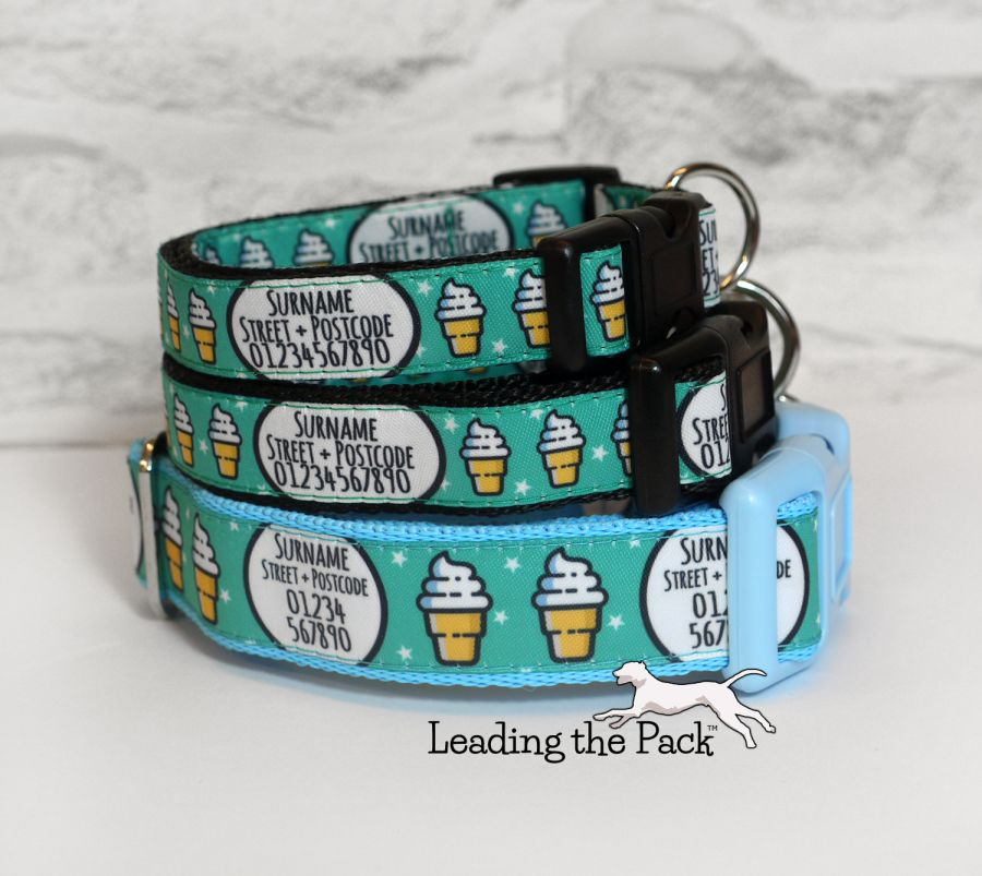 20/25mm personalised contact ice cream turquoise collars & leads