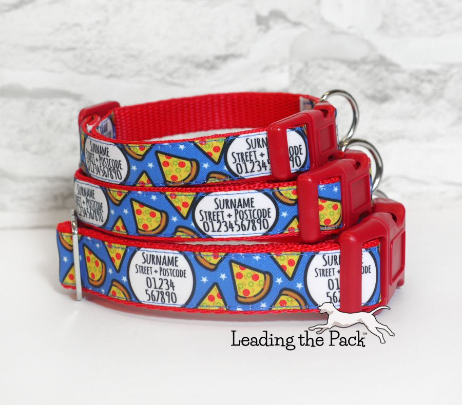 20/25mm personalised contact pizza collars & leads