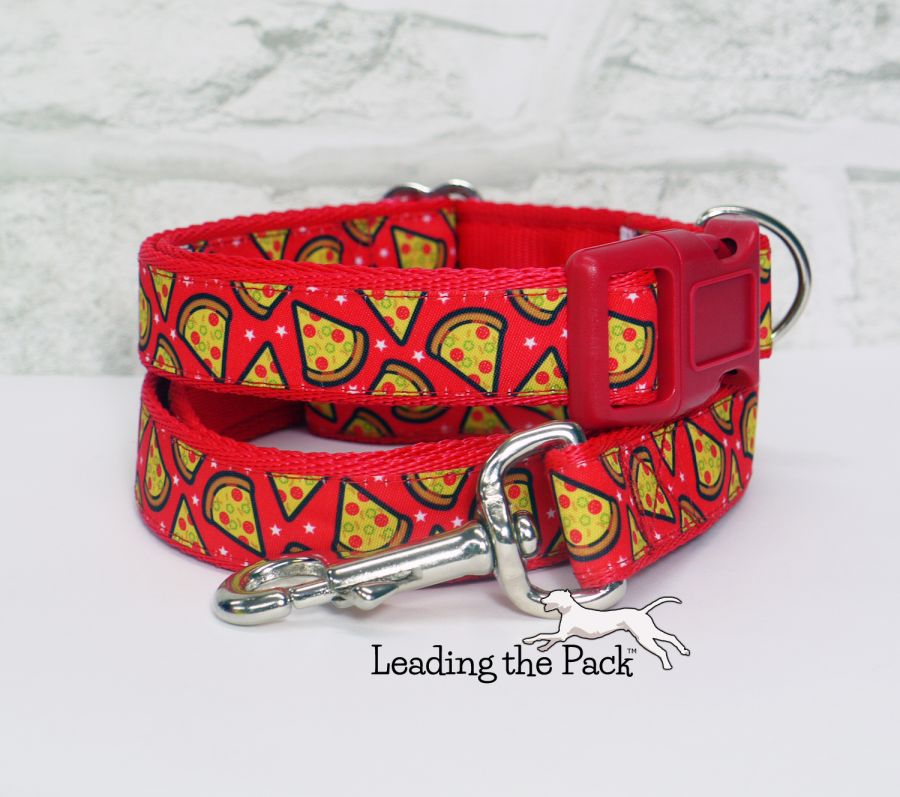 20/25mm red pizza collars & leads