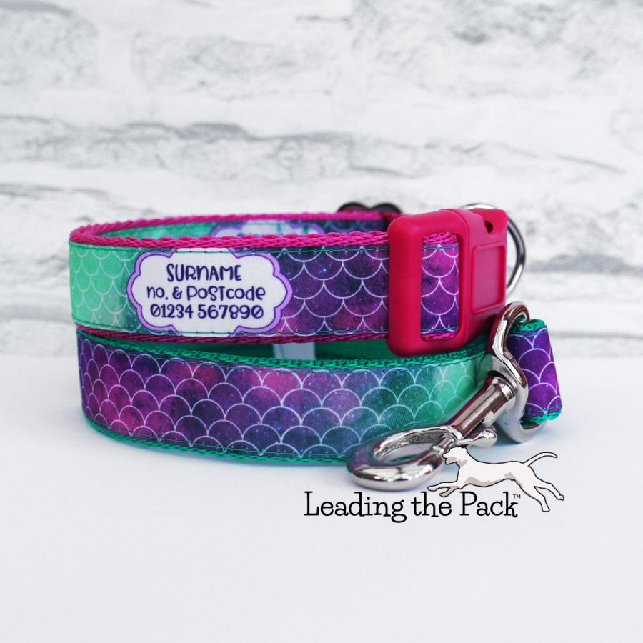 20/25mm personalised contact mermaid scales collars & leads