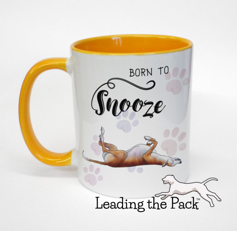 Born to snooze greyhound mugs & coasters