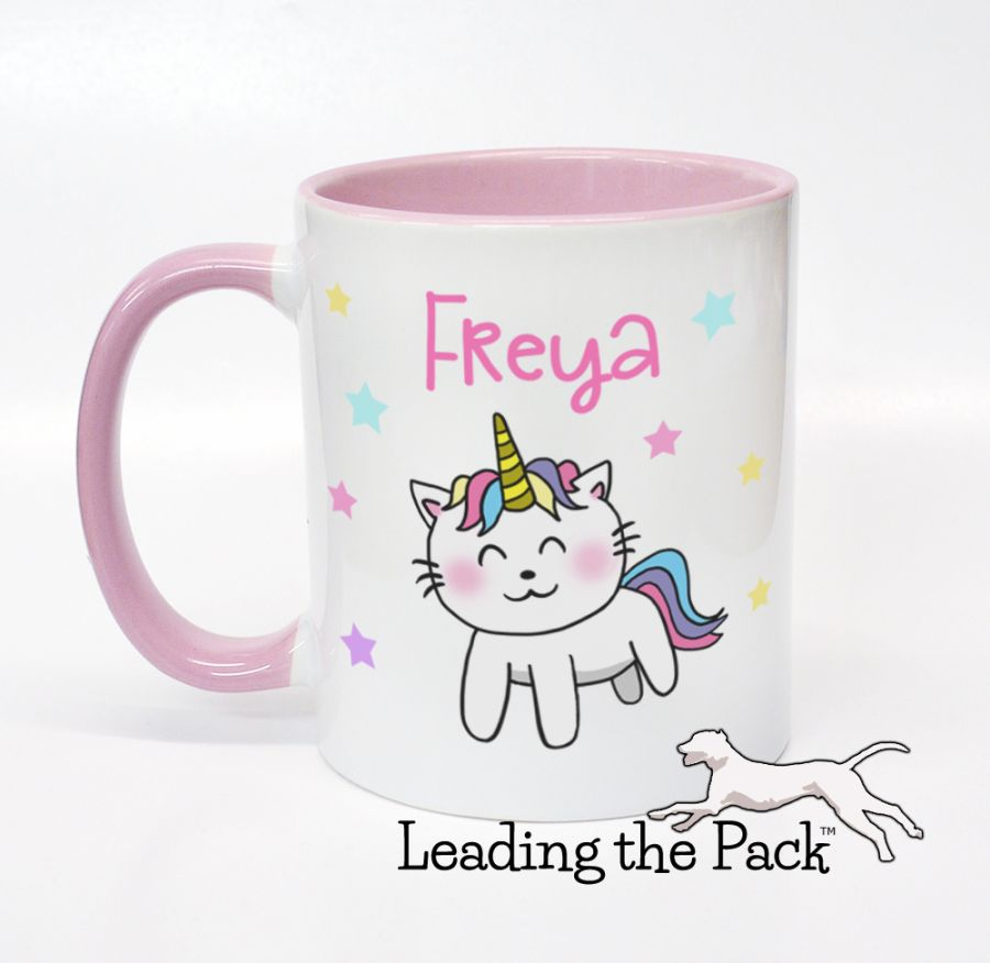 Personalised caticorn mugs & coasters