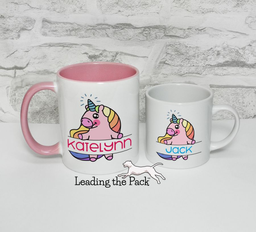 Personalised banner unicorn mugs & coasters