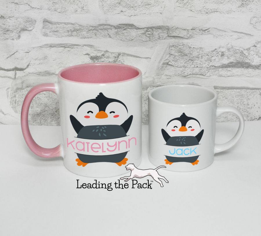 Personalised penguin mugs & coasters