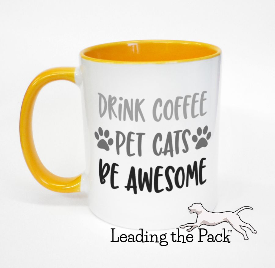 Drink coffee pet cats be awesome mugs & coasters
