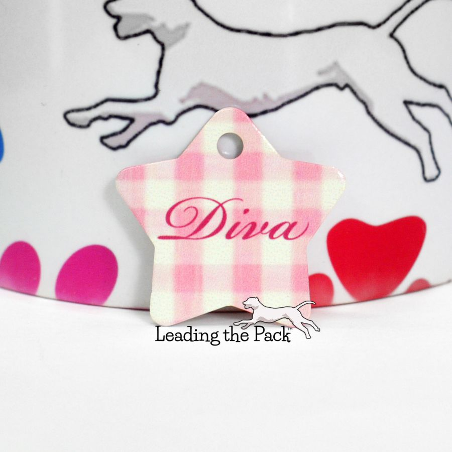 Pink gingham star shaped tags