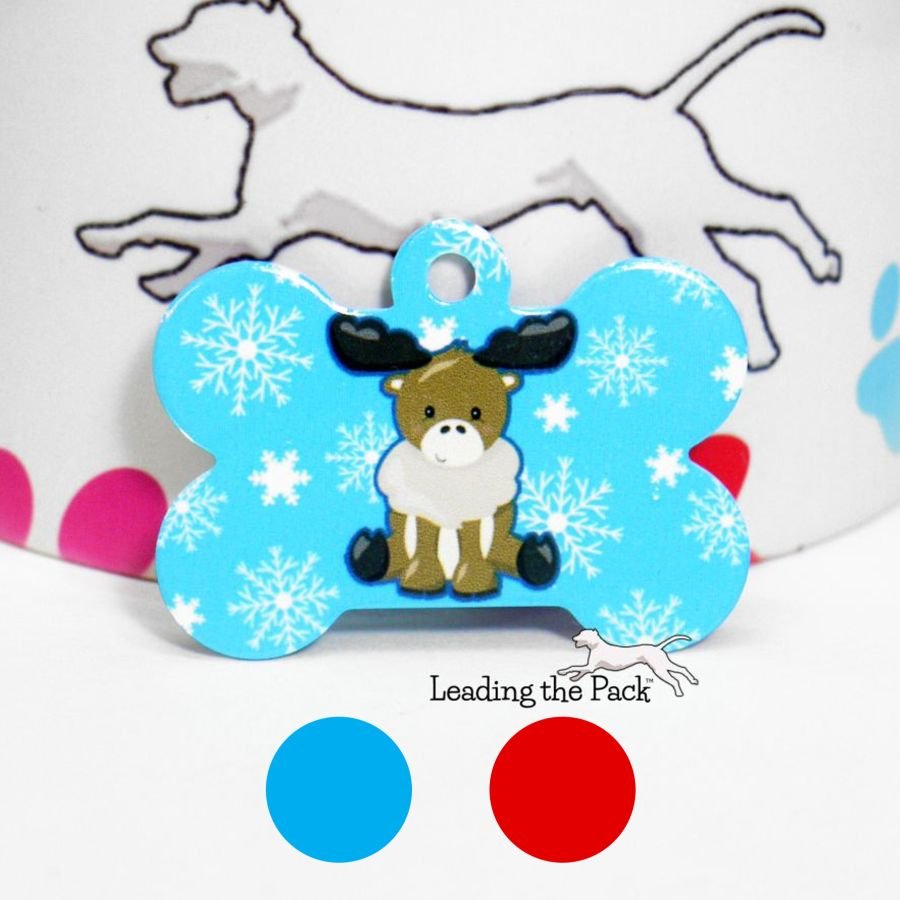 Moose snowflakes bone shaped tags