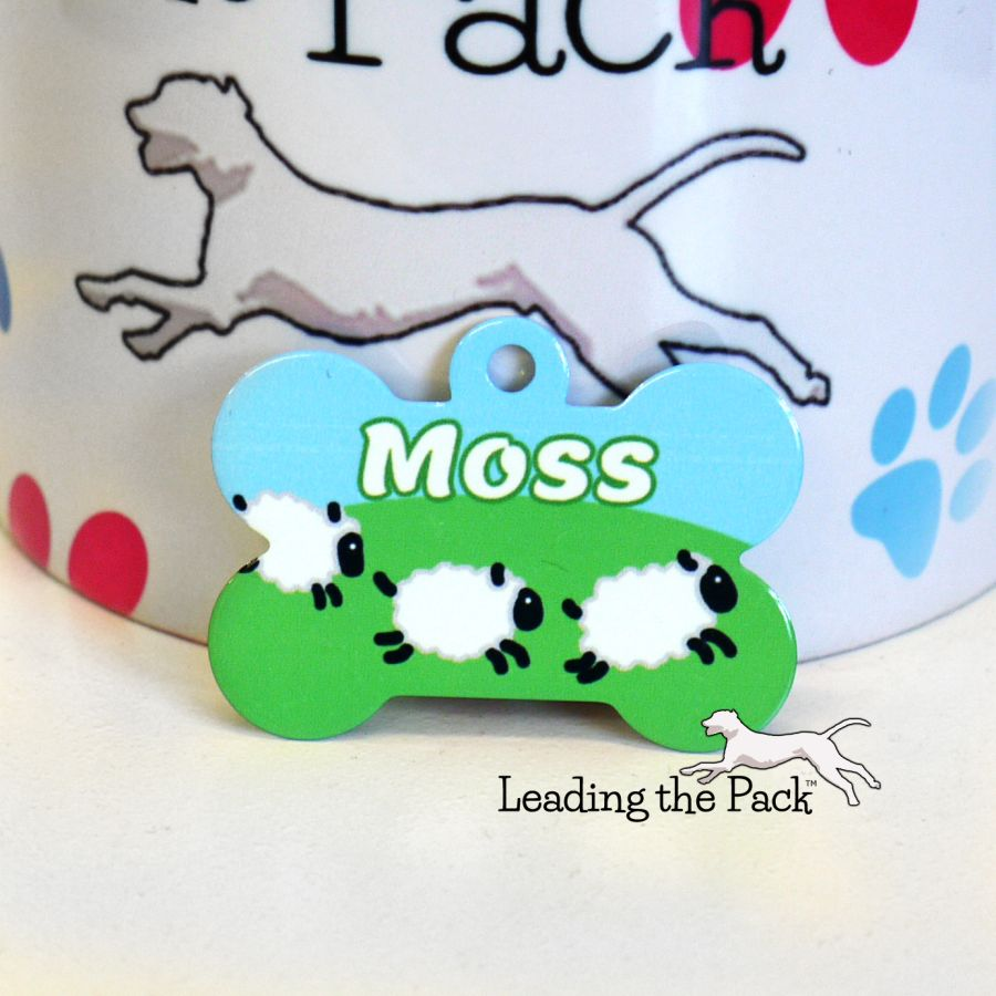 Jumping sheep bone shaped tags