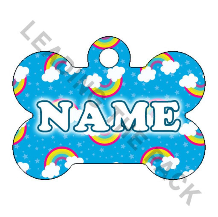 Rainbows bone shaped tags