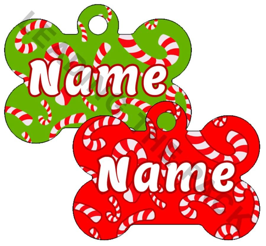Candy canes bone shaped tags