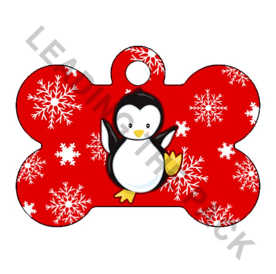 Snowflake penguin bone shaped tags