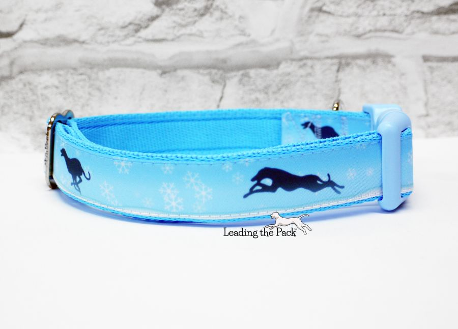 20/25mm winter snowflakes greyhound collars & leads