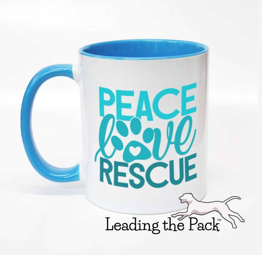 Peace love rescue mugs & coasters