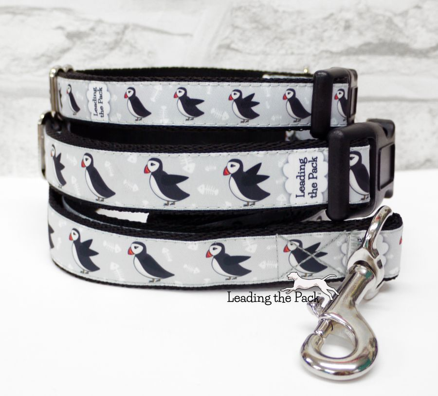 20/25mm grey puffin collars & leads