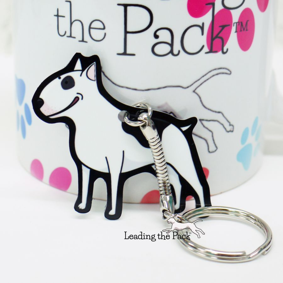 English bull terrier aluminium keyring