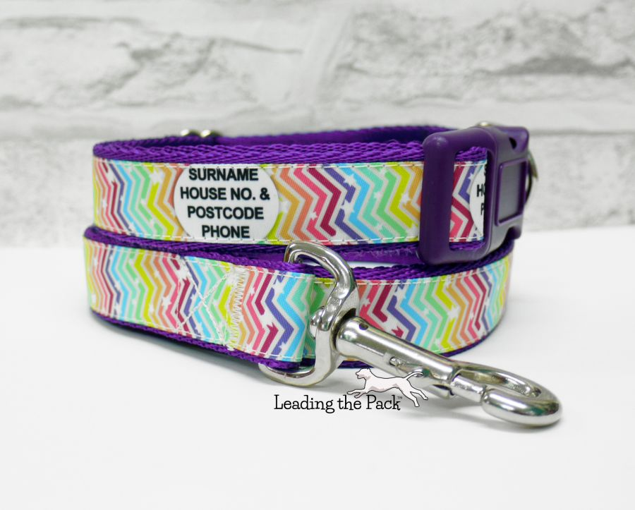 20/25mm personalised contact rainbow chevron collars & leads