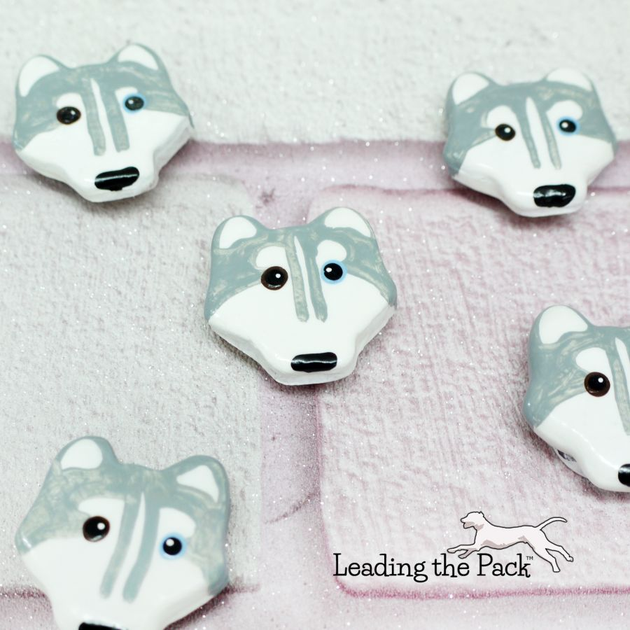 Hand made clay husky magnets