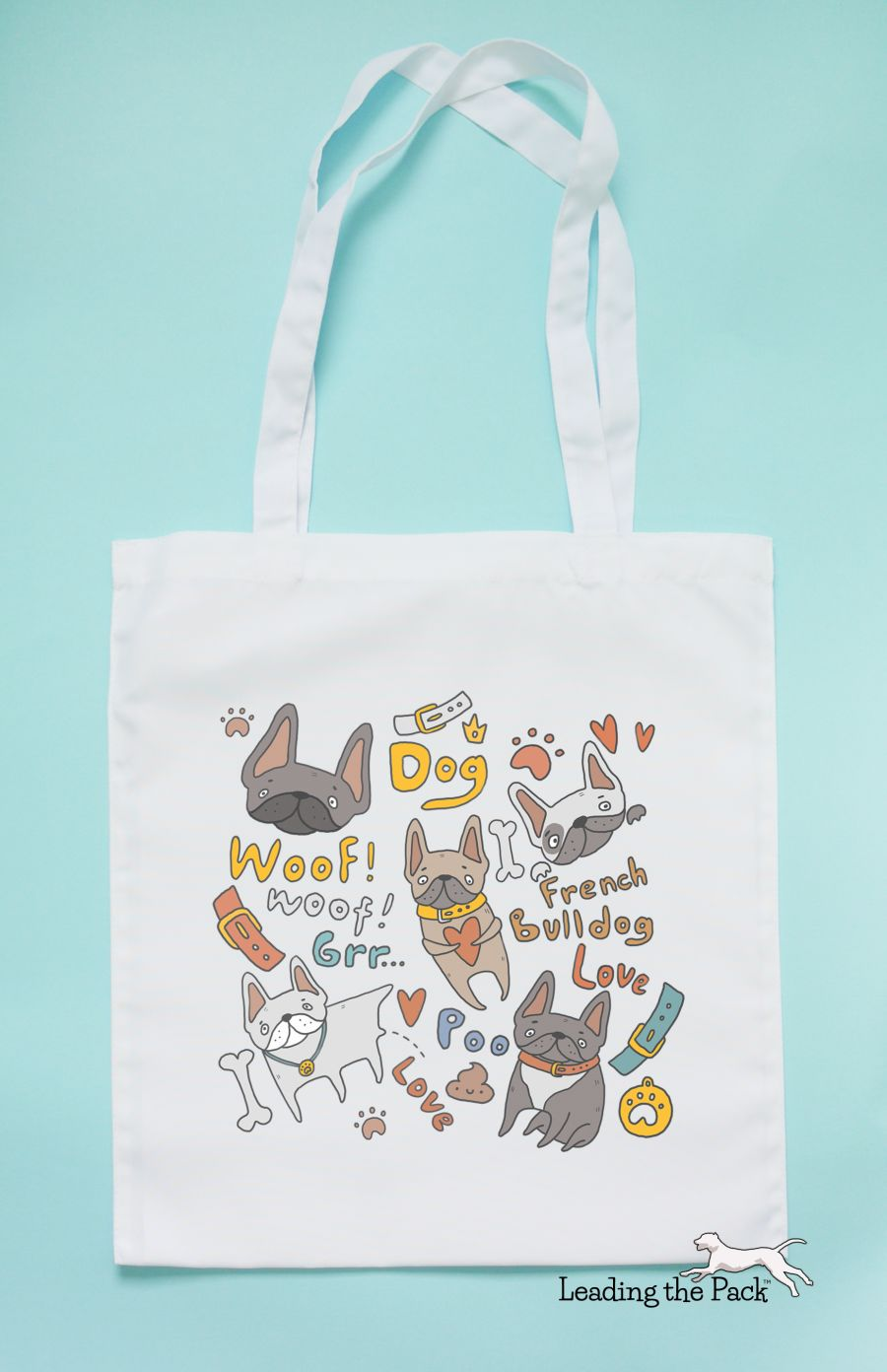 Doodle french bulldog tote bag