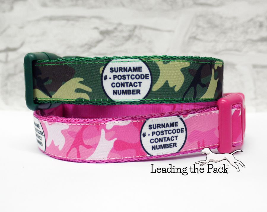 20/25mm personalised contact camouflage collars & leads
